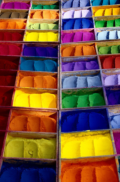 Powdered Rainbow, Kathmandu  - Nepal<br /> <br /> In the Hindu market, powdered dyes are served up with spoons and carried away in tiny round tins.