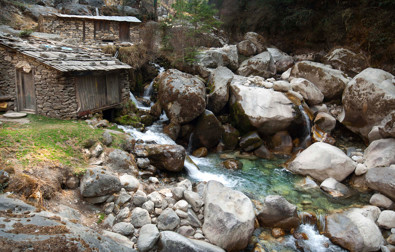 Mountain Stream, Khumbu Valley - Nepal<br /> <br /> Between Ghat and Lukla this small stream flows under structures that house grinding wheels. The force of the water through this narrow valley can be tremendous during the monsoon of the summer months.