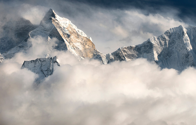 "Kangtega, Khumbu Valley - Nepal<br /> <br /> Kangtega, the ""snow saddle"", rises to 6,782 metres (22,251 ft) along the spine of the Khumbu valley and the Hinku valley. This image was taken from Pheriche, at dusk, with a long lens."