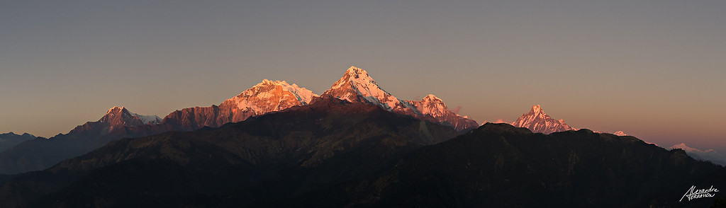 Last light on summits of Annapurna