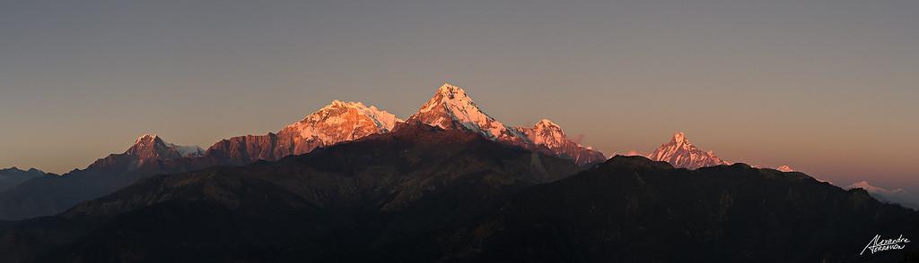 Last light on summits of Annapurna