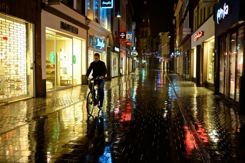 Cyclist on Rain Soaked Streets - Breda, Netherlands