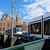 Trams and Centraal Station - Amsterdam, Netherlands