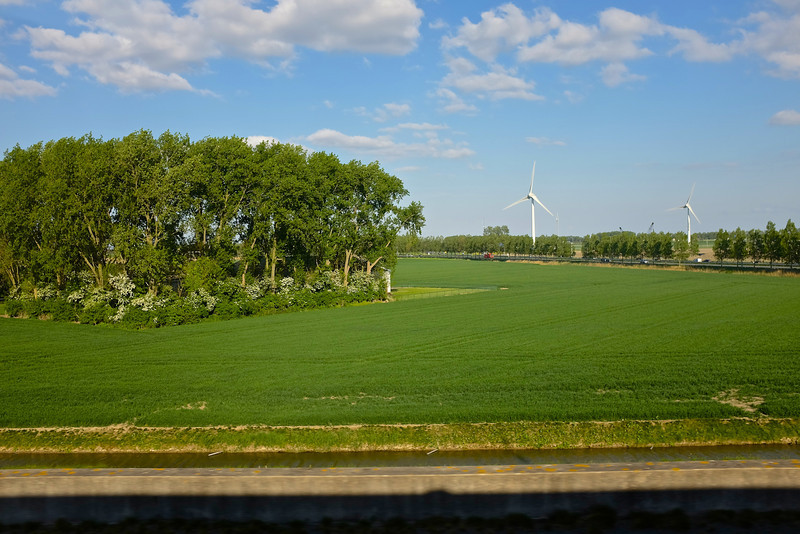 Modern Windmills - Netherlands from the train