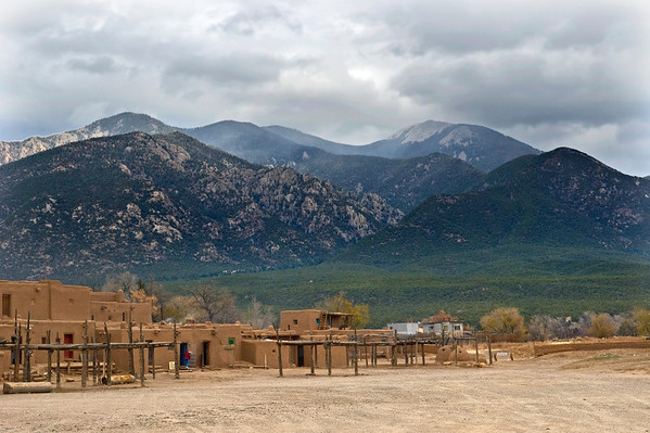 The pueblos in Taos, on the Indian Reservation.