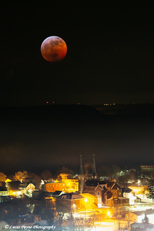 In-camera Double Exposure of the 2019 Lunar Eclipse Super Blood Moon over Guttenberg, Iowa<br /> <br /> January 20, 2019