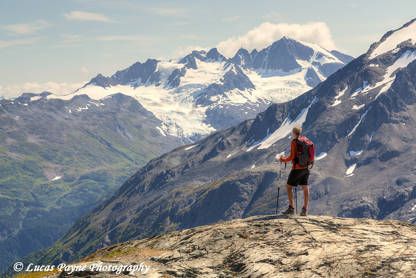Female backpacker enjoying the view  from the Harding Icefield Trail near Seward, Kenai Fjords National Park, Kenai Peninsula, Southcentral Alaska. <br /> <br /> August 02, 2014