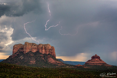 Lightning Strikes over Cathedral Rock