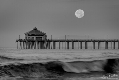Moonset Over Huntington Beach Pier III