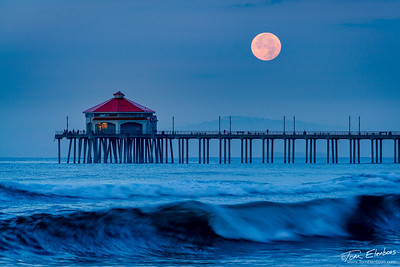 Moonset Over Huntington Beach Pier II