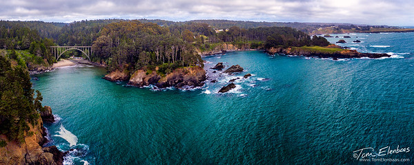 Aerial View of Russian Gulch Bridge and Mendocino Coast