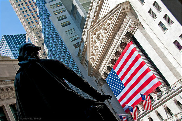 New York Stock Exchange with flag