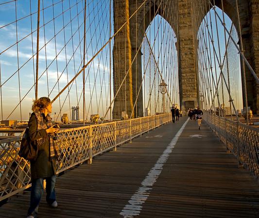 Walking on the Brooklyn Bridge, NYC