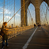 Walking on the Brooklyn Bridge, NYC