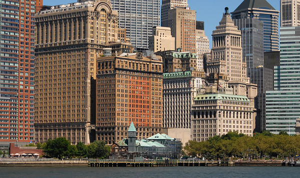 New York City's financial district as seen from the Hudson River.