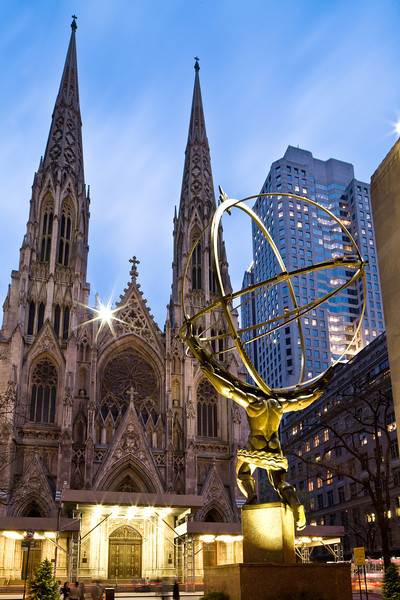 Atlas and St. Patrick's Cathedral  Photographing New York City. http://amzn.to/dfgnyc