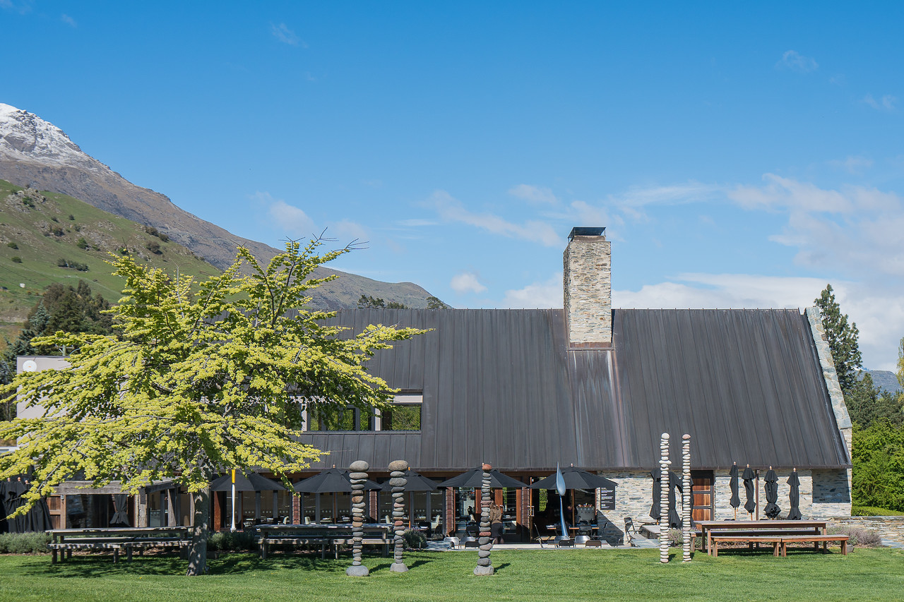 The back of Amisfield Winery as we looked at our first vines