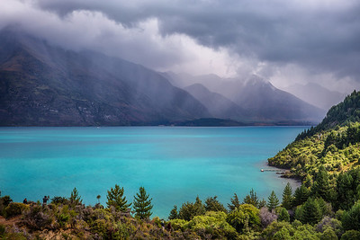 Glacier BlueLake Wakatipu, New Zealand  The particular shade of blue that looked good on most everyone. Especially Lake Wakatipu this fine and stormy day.