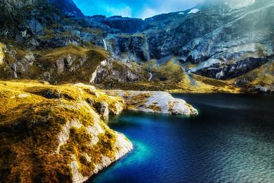 Rock Wall on Mountain Lake