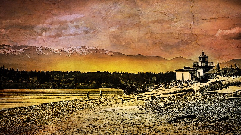 West Point Lighthouse with Olympic Mountains