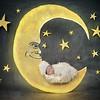 Newborn Baby Sleeping on Night Star