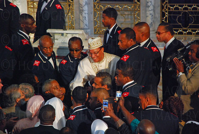 Nation of Islam Leader Minister Louis Farrakhan greets audience members after the Mosque Rededication Ceremony