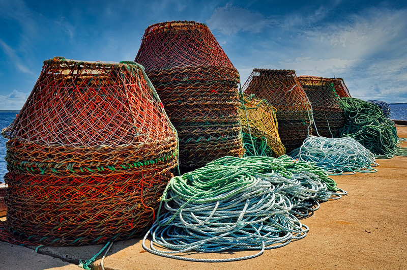 Crab Pots waiting for the season to open at Farewell