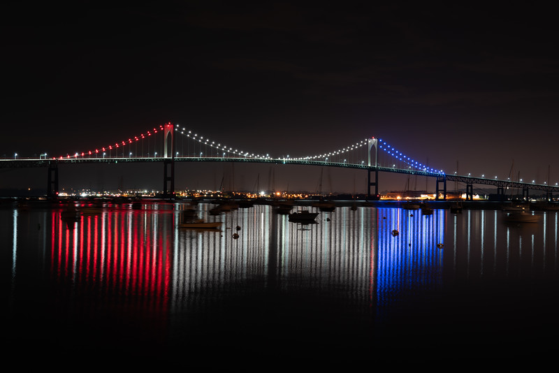 Pell Bridge Red White and Blue Lines
