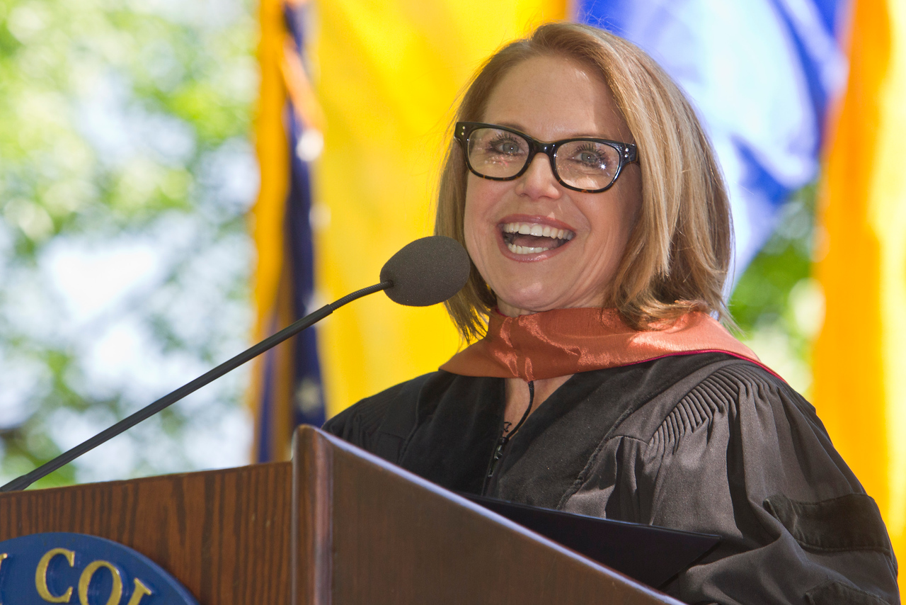 Katie Couric speaks at Trinity College Graduation in Hartford, CT Sunday afternoon.