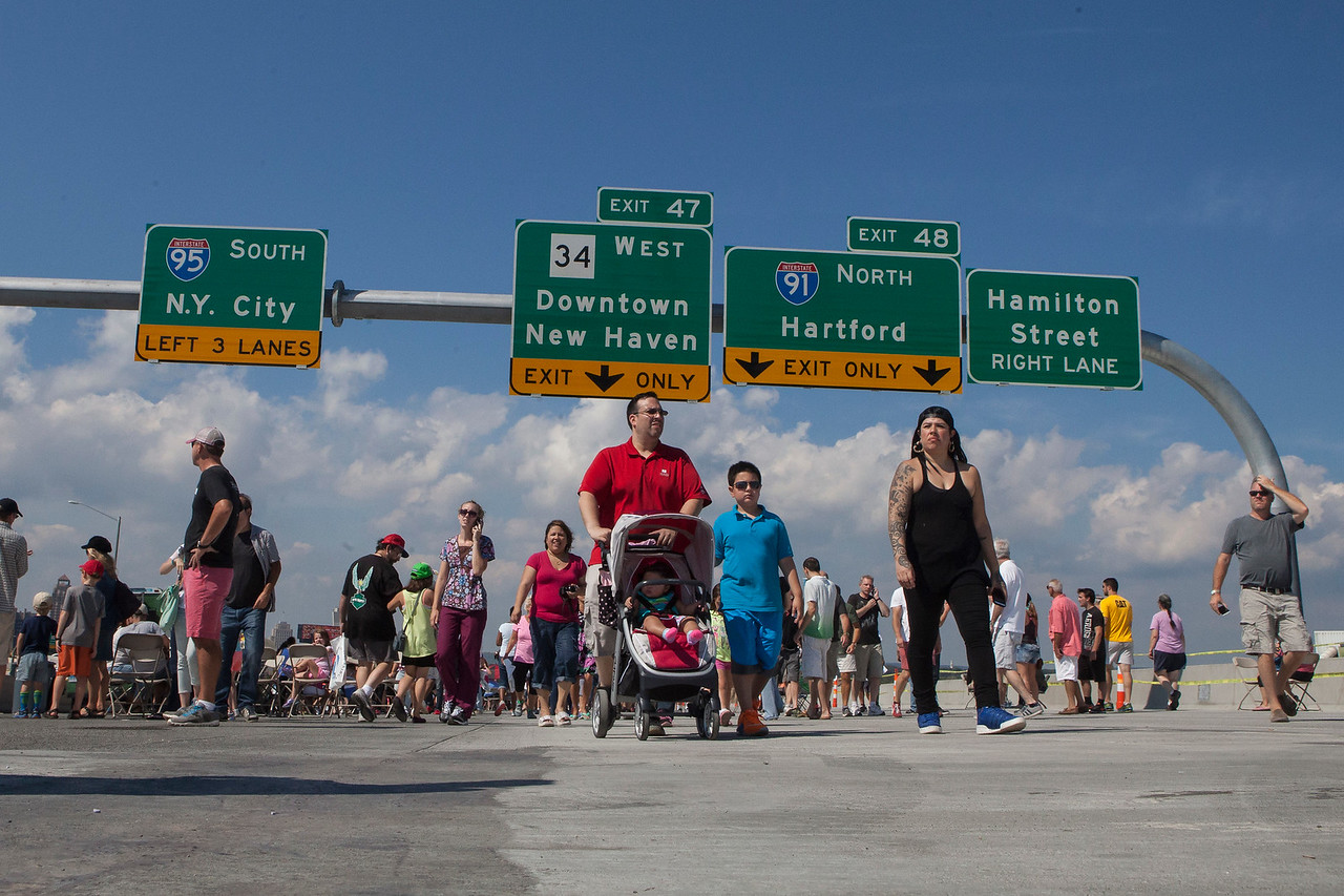 The public were invited to walk accross the unfinished section of the Pearl Harbor Memorial Bridge at the Grand Opening Celebration on September 19, 2015 in New Haven, CT.