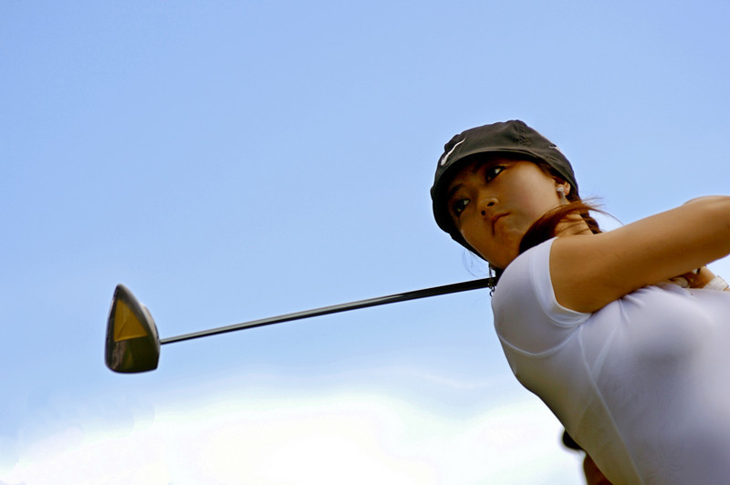 Michelle Wie tees off on the 6thth hole during the Sony Open at  Waialae Country Club in Honolulu, Hawaii, January 12, 2007. Lucy Pemoni Photo