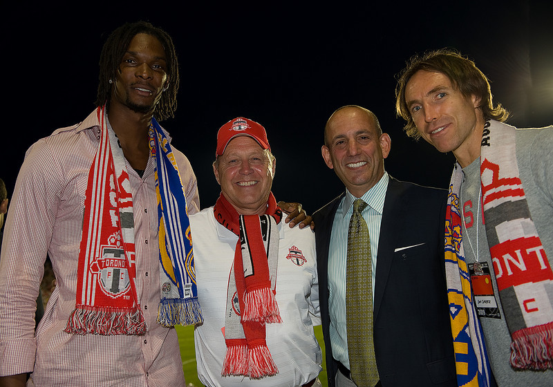 August 7, 2009: L to R Toronto Raptors forward Chris Bosh, President & CEO of Maple Leafs Sports & Entertainment Ltd. Richard Petty, MLS Commissioner Don Garber and Phoenix Suns guard Steve Nash were on hand for the International Friendly between Real Madrid and the Toronto FC at BMO Field in Toronto, Ontario.