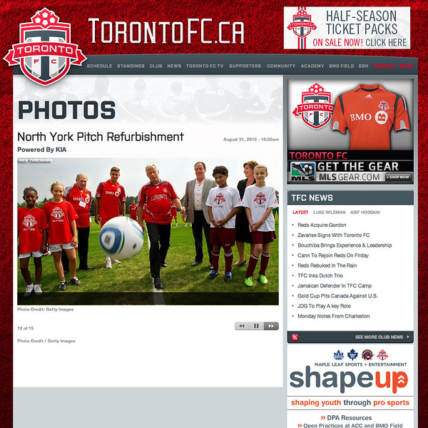 Toronto FC Team Up Foundation North York Pitch Refurbishment Ceremony with City of Toronto Mayor David Miller.