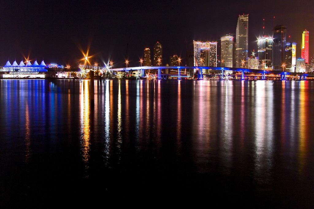 Skyline of downtown Miami ,Florida from Watson island .