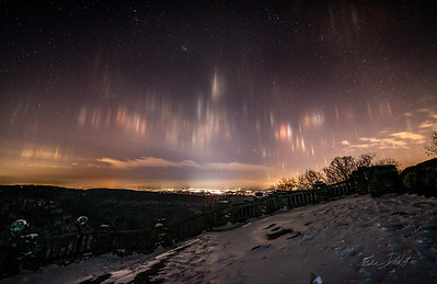 Light Pillars over Morgantown, West Virginia