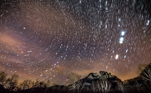 Star Trails over Seneca Rocks