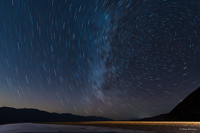 Star trails from Badwater Basin with the winter Milky Way