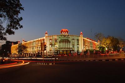 Night view of Jaipur Vikas Pradikaran. Ram Keshar Vyas Bhavan. Jaipur, Rajasthan. India.