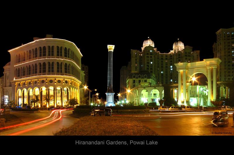 View of Hiranandani Gardens Complex near Rodas Hotel, Powai Lake, Mumbai.