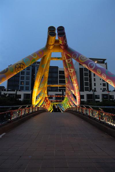 Night view of Singapore's bridge.
