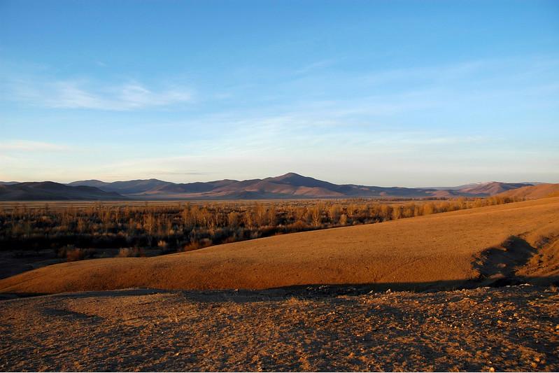 The vast Gobi Desert, Mongolia as the Sun goes down.