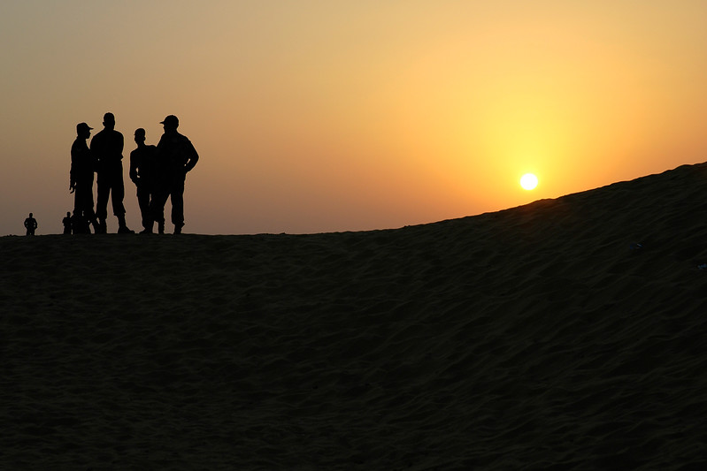 Army watch over the Sam sand dunes, Jaisalmer, Rajasthan, India as this is not too far from the Pakistan border and to protect the tourists.