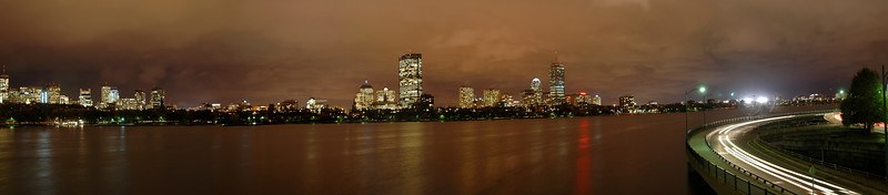 Panoramic night view of Boston, USA.