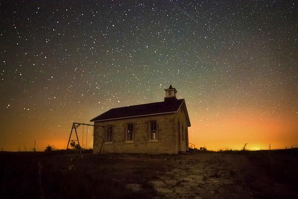 Prairie Hilltop Old Stone School At Twilight