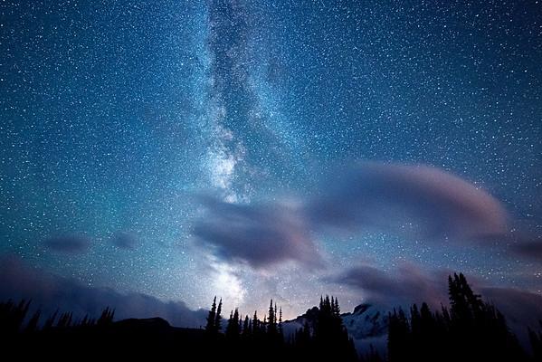 Blue Milky Way Mt Rainer