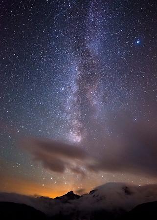 Milky Way Orange Sunset Glow Above Mt. Rainer