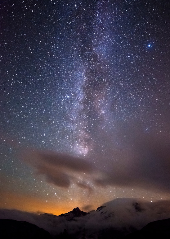 Milky Way Orange Sunset Glow Above Mt. Rainer
