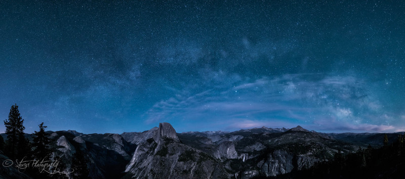 Almost home - Milky way and moonlit Halfdome - Yosemite NP, CA