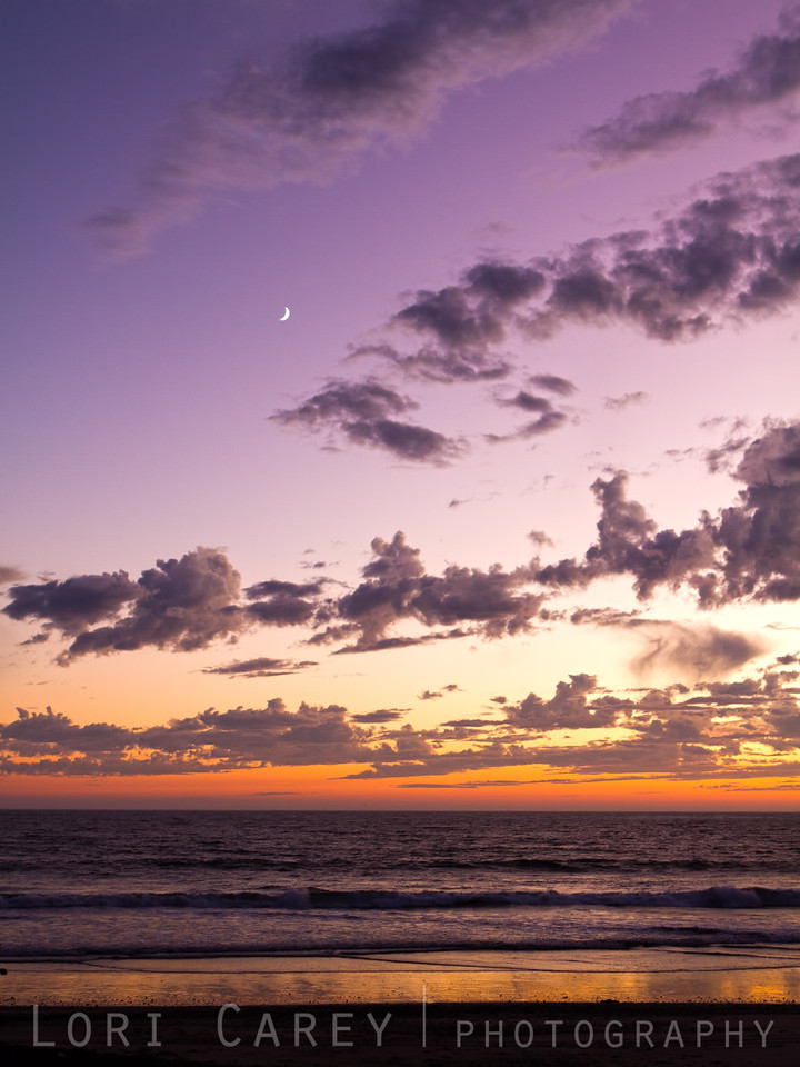 Sunset and new moon over the Pacific Ocean, San Clemente, CA