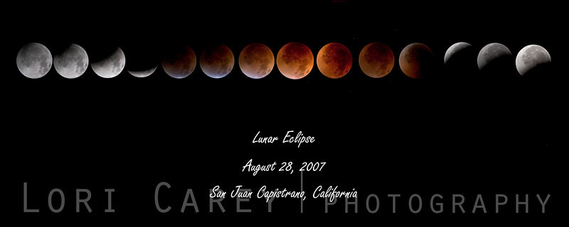 August 28, 2007 full lunar eclipse as seen from San Juan Capistrano, California, USA.